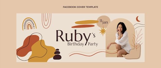 Ręcznie rysowane urodziny boho okładka na facebooku