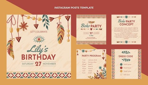 Ręcznie rysowane urodziny boho post na instagramie
