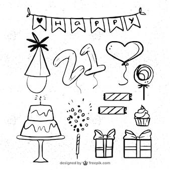 Ręcznie rysowane urodziny dekoracji