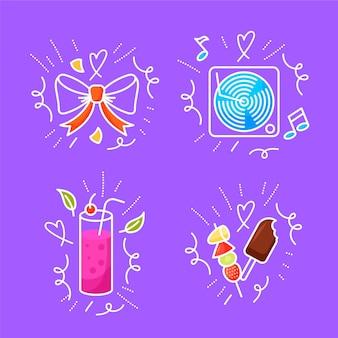 Ręcznie rysowane urodziny doodles kolekcji
