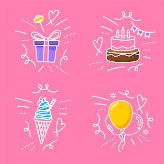 Ręcznie rysowane urodziny gryzmoły zestaw
