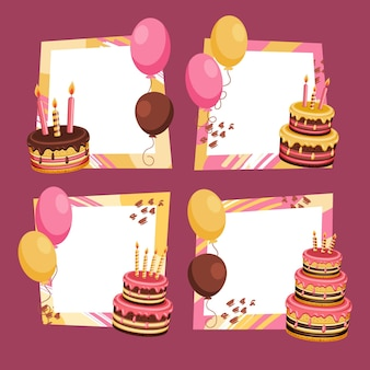 Ręcznie rysowane urodziny kolaż wyboru ramki