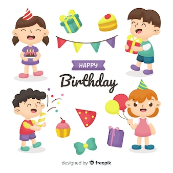 Ręcznie rysowane urodziny kolekcja dla dzieci