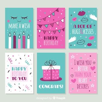 Ręcznie rysowane urodziny kolekcji kart