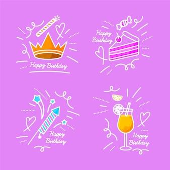Ręcznie rysowane urodziny opakowanie doodles