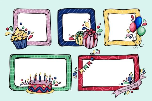 Ręcznie rysowane urodziny pakiet ramek kolażu