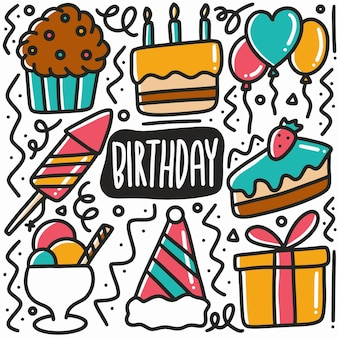 Ręcznie rysowane urodziny party doodle zestaw z ikonami i elementami projektu