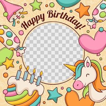 Ręcznie rysowane urodziny ramki na facebooku