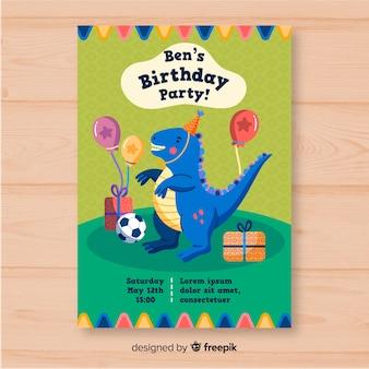 Ręcznie rysowane urodziny szablon zaproszenia