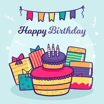 Ręcznie rysowane urodziny tło z ciastem