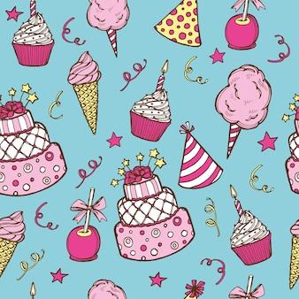 Ręcznie rysowane urodziny wzór. tort urodzinowy, babeczka, czapka urodzinowa, wata cukrowa, jabłko cukierkowe,