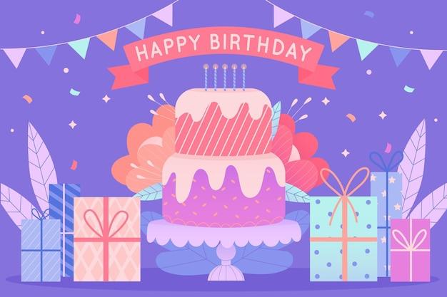 Ręcznie rysowane urodziny zapakowane prezenty