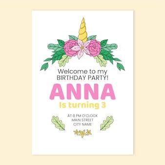 Ręcznie rysowane urodziny zaproszenie jednorożca dla dzieci
