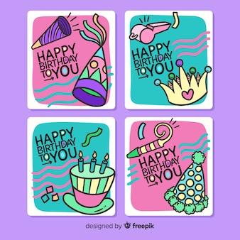 Ręcznie rysowane urodziny zaproszenie kolekcja kart