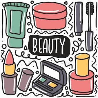 Ręcznie rysowane urządzenia kosmetyczne doodle zestaw z ikonami i elementami projektu