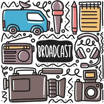 Ręcznie rysowane urządzenia nadawcze doodle zestaw z ikonami i elementami projektu