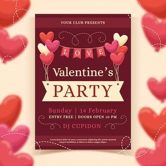 Ręcznie rysowane valentiens day party plakat szablon