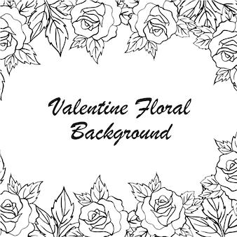 Ręcznie rysowane valentine floral background