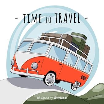 Ręcznie rysowane van podróży w tle