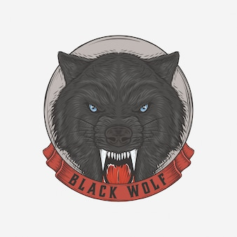 Ręcznie rysowane vintage czarny wilk