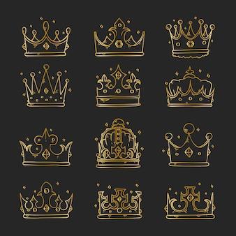 Ręcznie rysowane vintage golden doodle crown collection