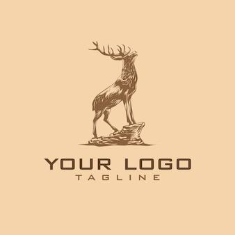 Ręcznie rysowane vintage logo jelenia