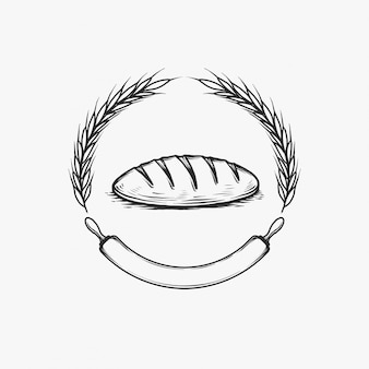 Ręcznie rysowane vintage piekarnia