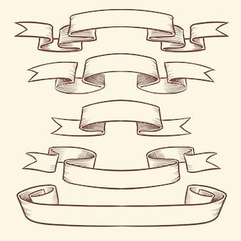 Ręcznie rysowane vintage wstążka banery na białym tle. zaprojektuj elementy wektorowe w stylu grawerowane