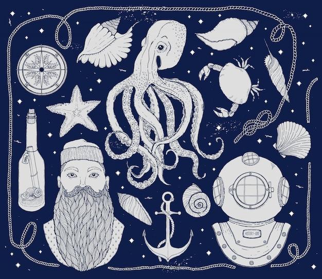 Ręcznie rysowane vintage zestaw nautical.