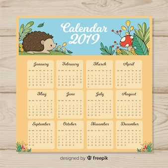 Ręcznie rysowane w nowym roku 2019 kalendarz