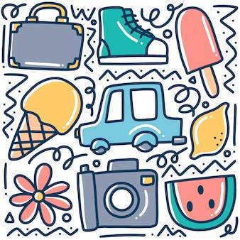 Ręcznie rysowane wakacje doodle zestaw z ikonami i elementami projektu