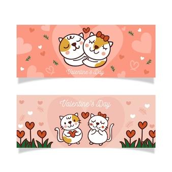 Ręcznie rysowane walentynki banner i piękne kocięta