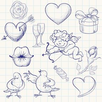 Ręcznie rysowane walentynki doodle
