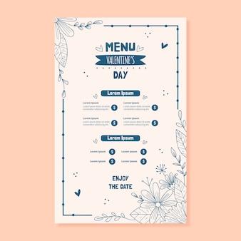 Ręcznie rysowane walentynki menu szablon