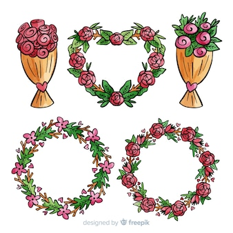 Ręcznie rysowane walentynki paczka kwiatów