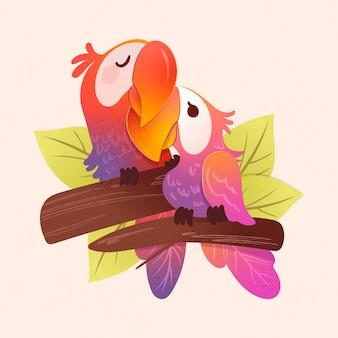 Ręcznie rysowane walentynki papuga para