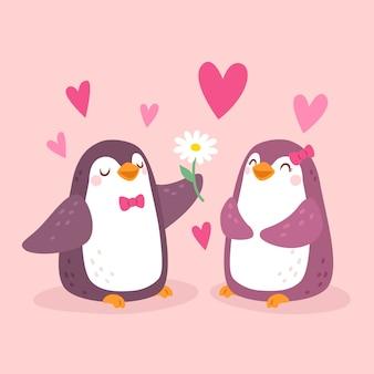 Ręcznie rysowane walentynki pingwiny para