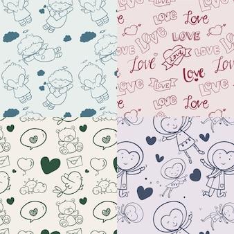 Ręcznie rysowane walentynki wzór kolekcji