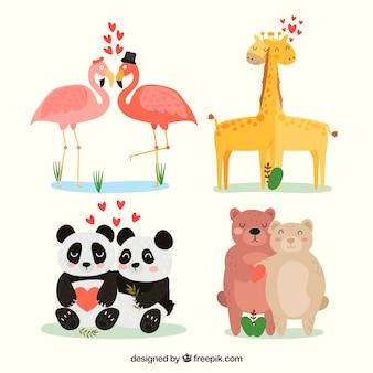 Ręcznie rysowane walentynki zwierząt para kolekcja