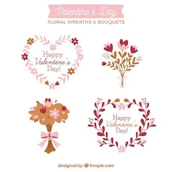 Ręcznie rysowane walentynkowe wianki kwiatowe i bukiety