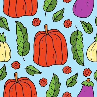 Ręcznie rysowane warzyw doodle ilustracja kreskówka wzór projektu