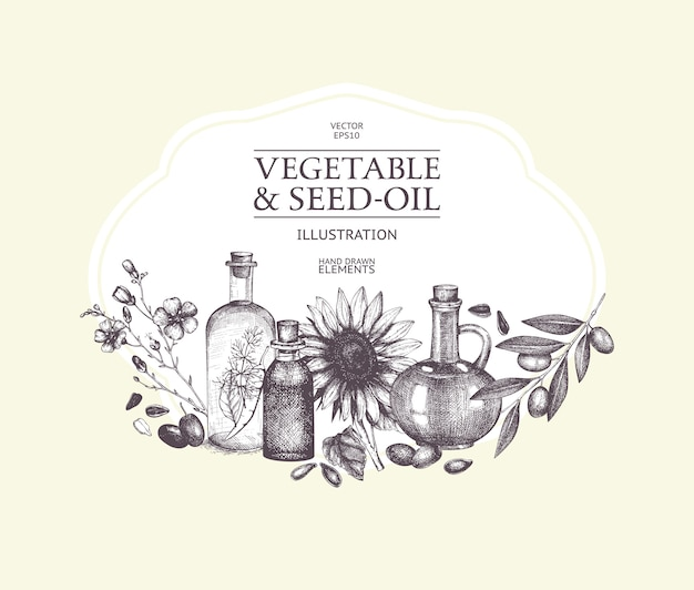 Ręcznie rysowane warzywa i olej z nasion ilustracja. ilustracja rocznika zdrowej żywności. szkic ozdobny grawerowane olej na białym tle.