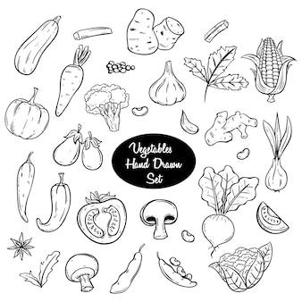 Ręcznie rysowane warzywa lub doodle zestaw w kolorze czarno-białym