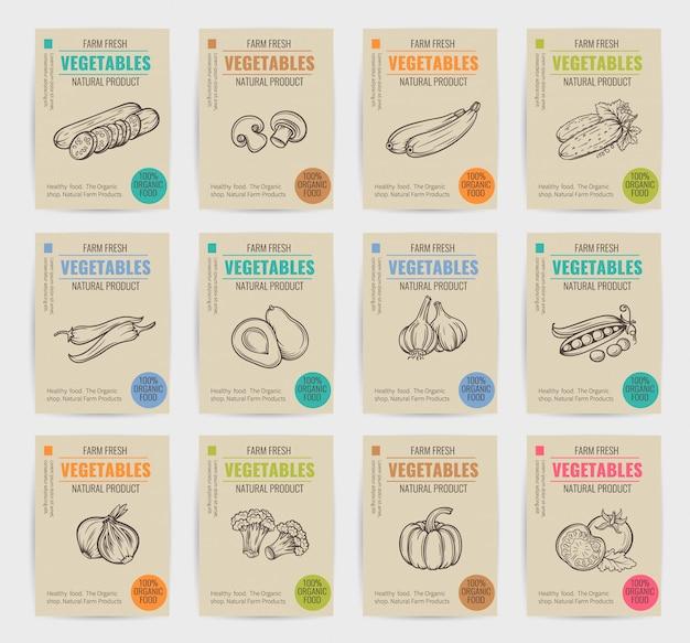 Ręcznie rysowane warzywa zestaw plakatów.