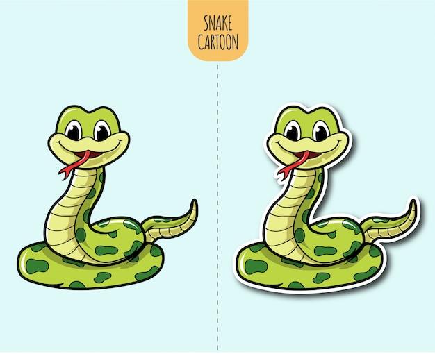 Ręcznie rysowane wąż ilustracja kreskówka z opcją projektowania naklejki