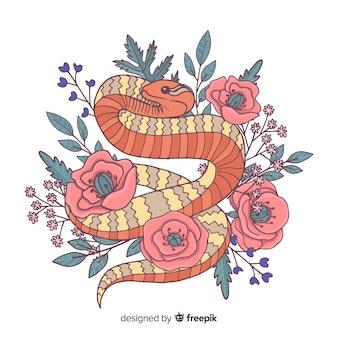 Ręcznie rysowane wąż z kwiatami