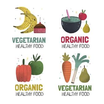 Ręcznie rysowane wegetariańska kolekcja odznak