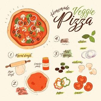 Ręcznie rysowane wegetariański przepis