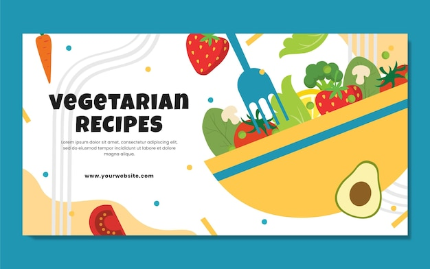 Ręcznie rysowane wegetariańskie jedzenie miniatura youtube