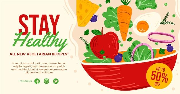 Ręcznie rysowane wegetariańskie jedzenie na facebooku